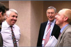 Mark Gee, Ian Hutchings, and Phillip Shipway enjoy the poster session.