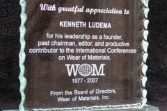 Congratulations to Professor Ken Ludema, founding Chairman of WOM '77 and '79, for his continued service
