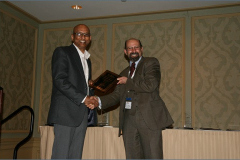 Outgoing Conference Chair Steven Shaffer receives Award from Somuri Prasad