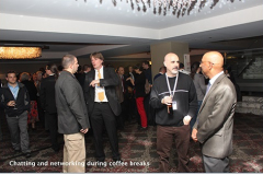 Chatting and networking during coffee breaks