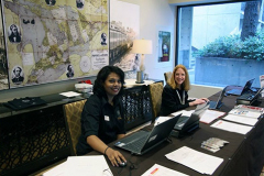 Elsevier staff Nina Cosgrove and Prathibha Mehta at the registration desk
